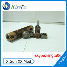 2014 newest design X Gun VV Mod wooden displayed LCD x gun mod wholesala x.gun vv mod