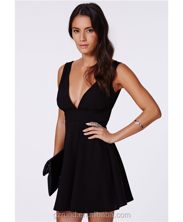 Ladies latest dress design wholesale, V-neck night sexy dress, summer bandage summer woman fashion dress black