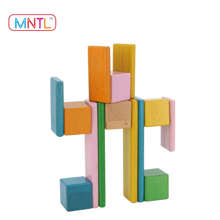 MNTL 8 Pieces Magnetic Wooden Blocks Intellectual Wood Brick Educational Geometric Wood Toy Blocks
