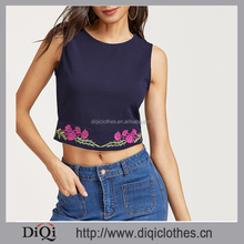 Newest designs garment Factory wholesale stylish women Navy Flower Embroidered Zipper Back Tank Top
