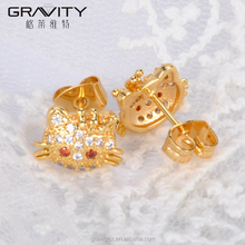 ESDG0053 Gravity new designs popular beautiful 18/24k gold plated hello kitty girl earring with zicron
