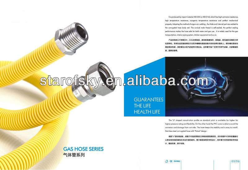 SUS316L DN15 stainless steel flexible expandable cooker gas tube