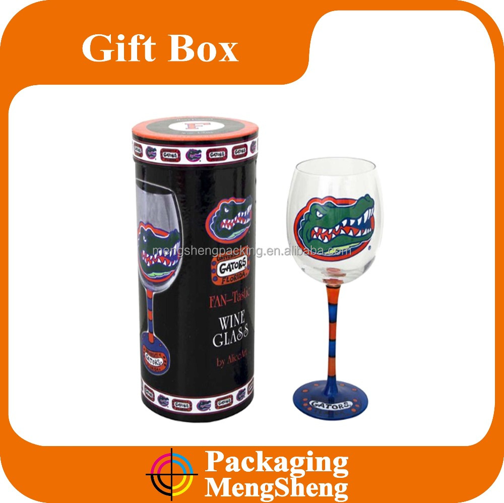 Wine bottle round cardboard tube for goblet packaging