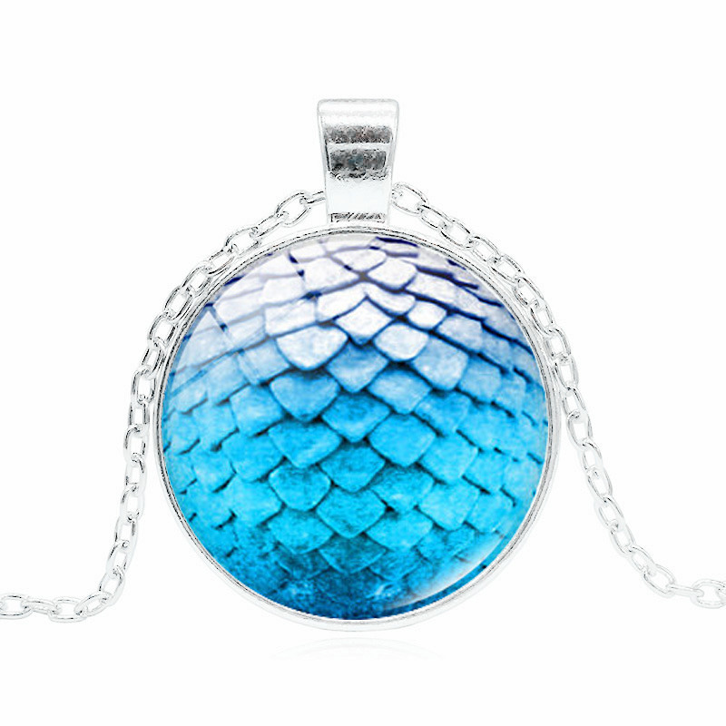 Fashion Glass Dome Game of Thrones Dragon Egg Pendant Necklace Steampunk Cosplay Accessories Wholesale Jewelry
