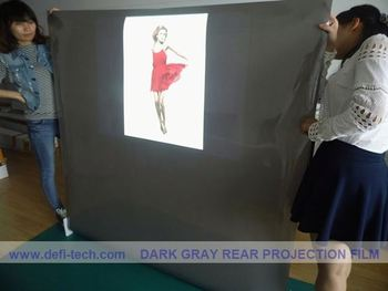 on sell transparent/dark grey color rear projector film/ rear projection screen for Glass window,for bank