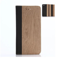 M2016 China Supplier Hot Selling New Products Wood Wallet Flip Cover Leather Mobile Phone Case for