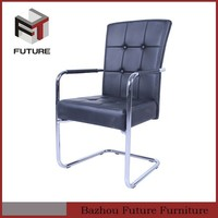 upholstered dining chairs with arms PU with metal leg