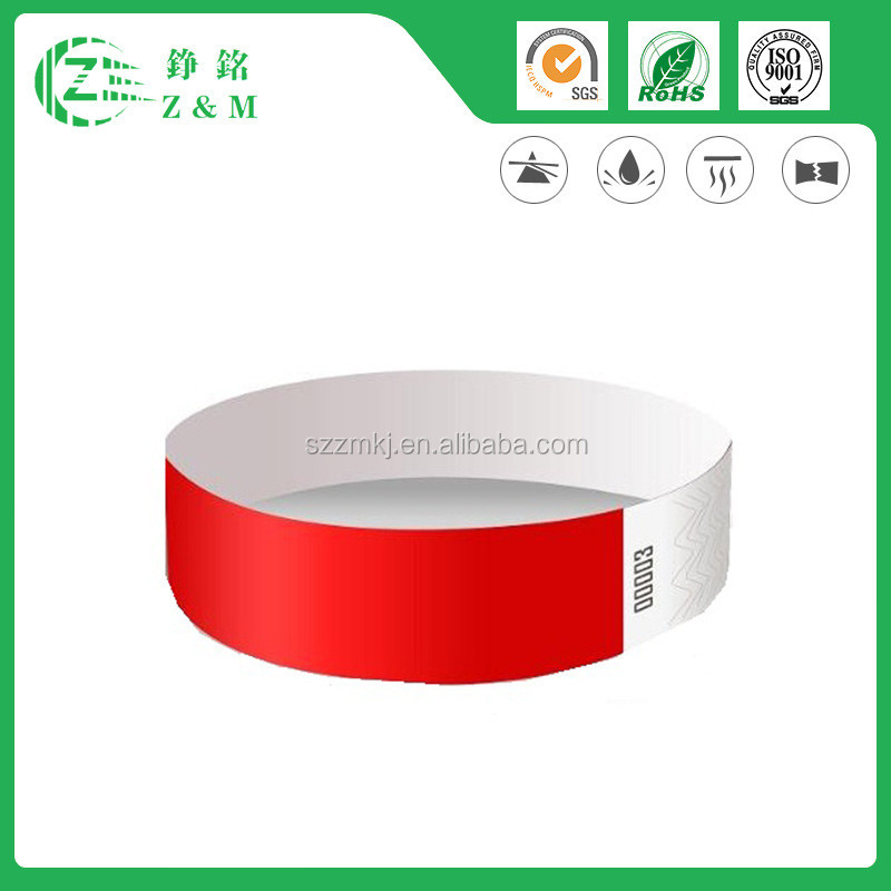 Best Selling Outdoor Customized Decoration Item Festival Tyvek Wristbands