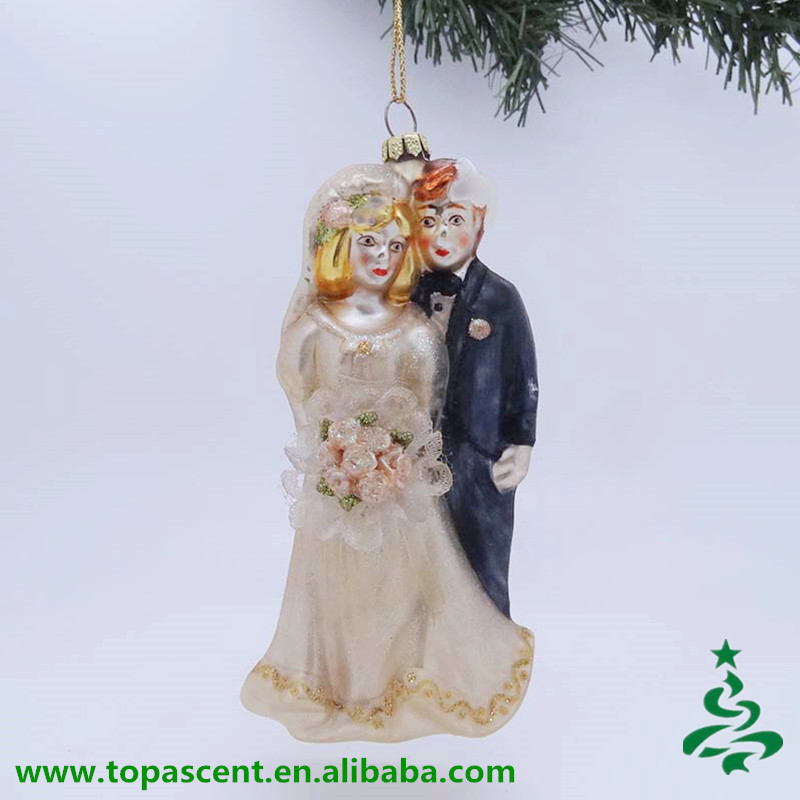 pure handmade romantic blown glass wedding bride and groom decoration