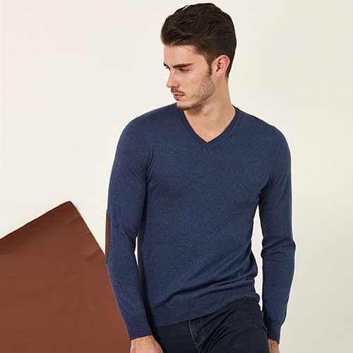 High quality Men's cotton silk cashmere V Neck pullover Sweater