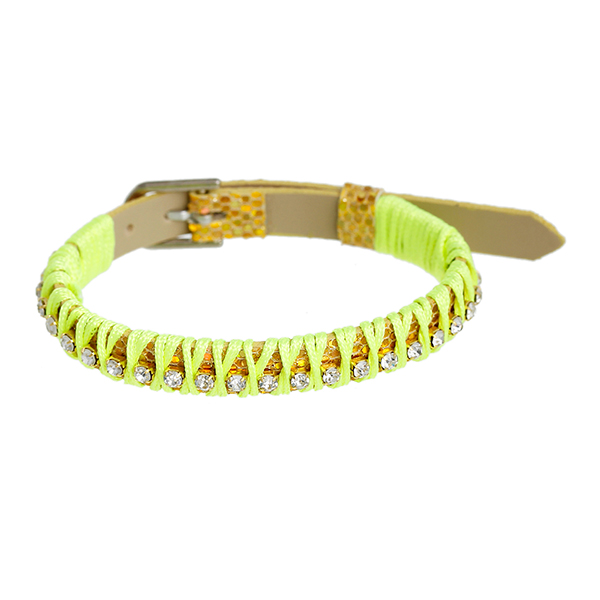 Leatheroid Wristband Bracelet Buckle Golden & Neno Yellow With Clear Rhinestone Sequins Glitter 8.5mm Wide, 22.0cm long