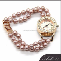 Wholesale charming new design shell pearl wrist watch for ladies