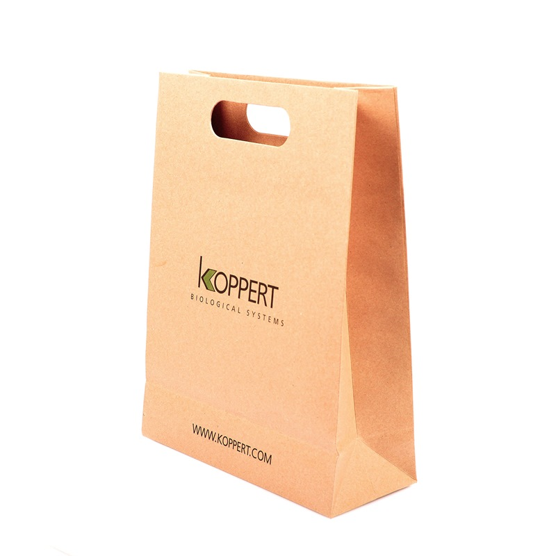 cheap craft natural kraft paper bag with Die cut handle recycled brown paper bag