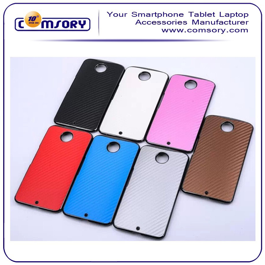 Electroplating cover PU veneer carbon fiber phone case for google nexus 6