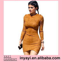 Kylie Jenner Winter Dresses Long Sleeve Suede Mini Dress Women Sexy Bodycon Party Dress