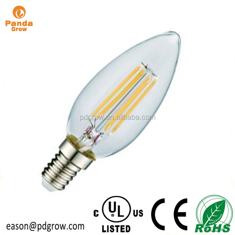 Certificated high-end home use 60w led candelabra bulb e27 2700k dimmable 100 lumens per watt