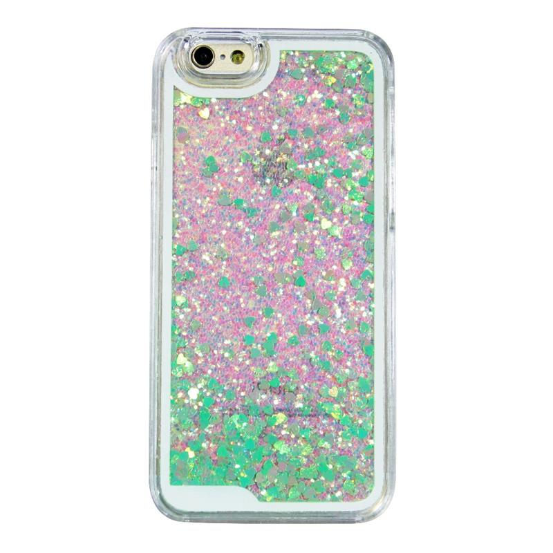 PC Glitter Green Laser Heart-shaped mobile phone back cover for iPhone 5