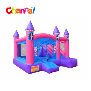 Pink inflatable moonbounce with slide inflatable bouncer house for sale