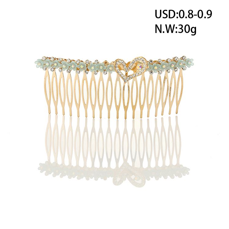 Hot sale decorative plated crystal gold alloy hair comb