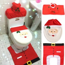 2015 3 PCs Christmas Decorations Happy Santa Toilet Seat Cover and Rug Bathroom Set SV008463