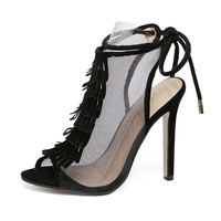 2016 high quality tranparent mesh upper summer ankle strap pumps tassel women high heels sexy sandals shoes