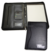 A4 compendium folder leather/black leather a4 zipped conference compendium with calculator/zippered executive compendium