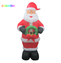 Christmas Inflatable Santa with Bow circle