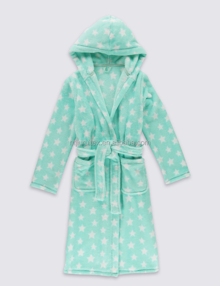 Star Print Coral fleece Dressing Gown for girl, girls hooded bath robe with belt