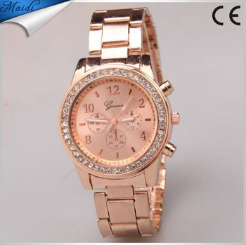 Rose gold watch women luxury brand hot geneva ladies wristwatches gifts full stainless steel for Watches for women