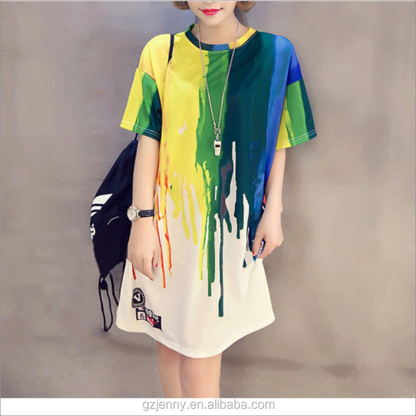 OEM Service Long Women Fashion Rainbow Printing Bedrukken Dames Dress Online T Shirt