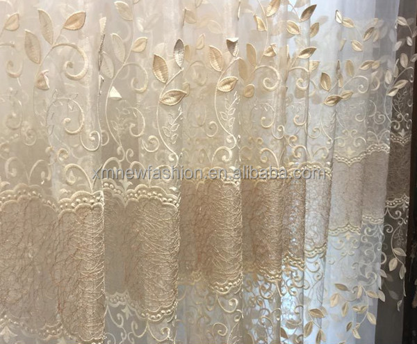 Wholesale Elegant Embroidered Sheer Voile Curtains Fabric