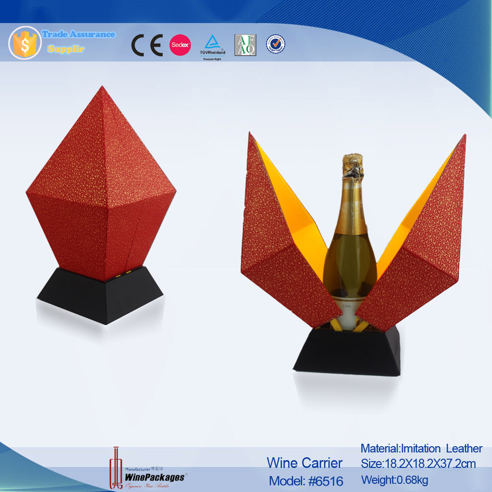 2015 New Design Cardboard Champagne And Wine Bottle Carrier Manufacturers