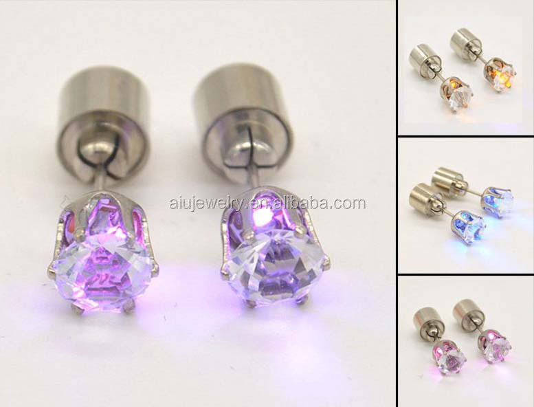 High End stainless steel led jewelry earring in mix colors