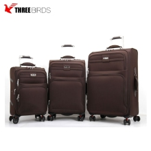 Design customized popular nylon 3pcs travel luggage set with retractable wheels