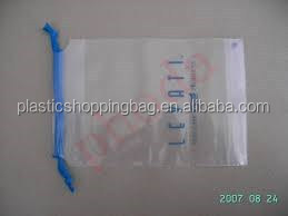 Transparent String Handle Plastic Bag OEM Custom Printed Plastic Shopping Bag