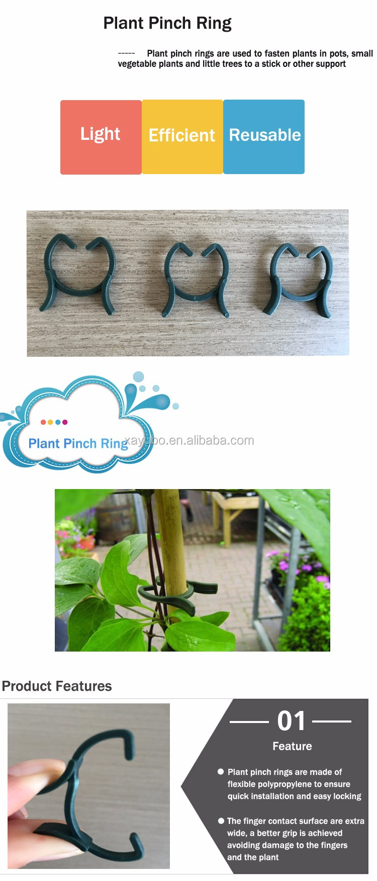 Durable Little Plants and Trees Fasten Plastic Plant Ring Clips
