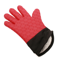 2016 new silicone oven mitts with fabric OEM color with private label BBQ gloves