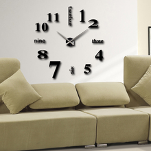 Home decoration!big number mirror wall clock Modern design,large designer wall clock.3d watch wall,unique gifts