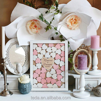 EU style wood guest book for wedding sign gift drop heart