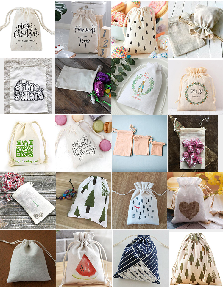 Printed Hand Soft Cotton Drawstring Pouch Jewelry Gift Bag