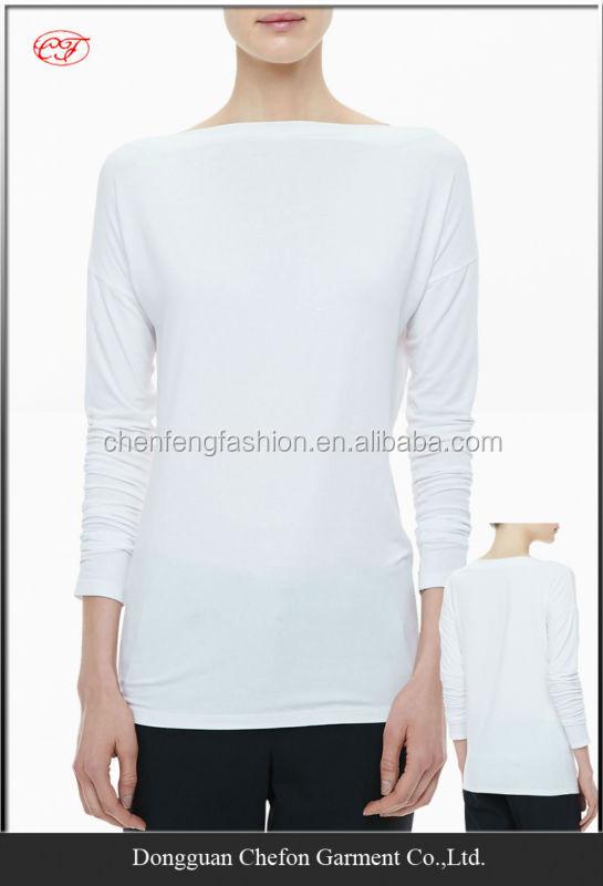 Boat neck plain t shirts high quality long sleeve t shirt for Plain quality t shirts