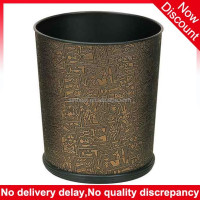 15 Liter cone Shape elegant PU leather hotel trash bin, garbage bin supplier