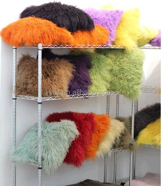 Wholesale Natural Tibet Sheepskin Fur Cushion Multicolor Mongolia Lamb Fur Pillow