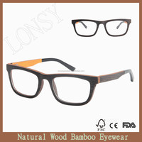 Fashion New model laminated wood optical reading frame with bamboo cases LS2909-C1