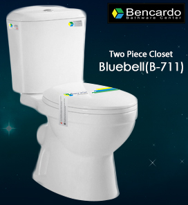 Sanitary Ware - Wash Down Two Piece Closet - Two Piece Toilet - Ceramic Toilet - Bencardo - Bluebell - B - 711