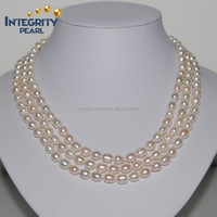 3 - strand latest design cultured freshwater pearl farm necklace
