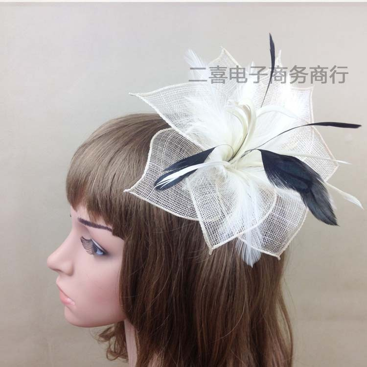 Elegant Women Ivory Fascinator Hairbands With Feather