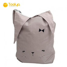 Custom design silkscreen printed cute rabbit cotton canvas drawstring heavy duty laundry bag