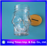 Unique design 500ml 16oz glass mason jar in skull shape, 500ml skull glass mason jar with lid