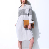 china wholesale elegant stripe cotton printed long sleeve stand-neck shirt dress for women apparel made in china